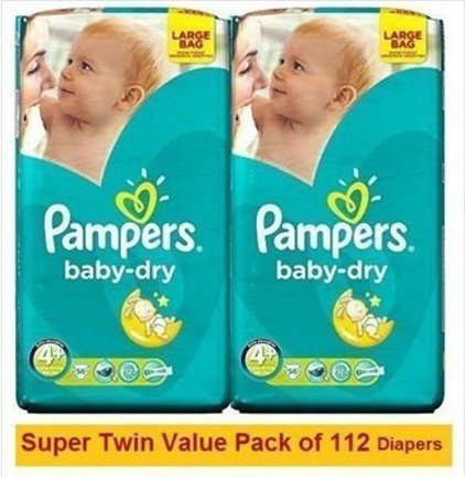PAMPERS BABY DRY N4+(9-18KG)Super Twin Value Pack 112PCS